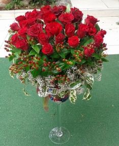 Kadehde kırmızı güller